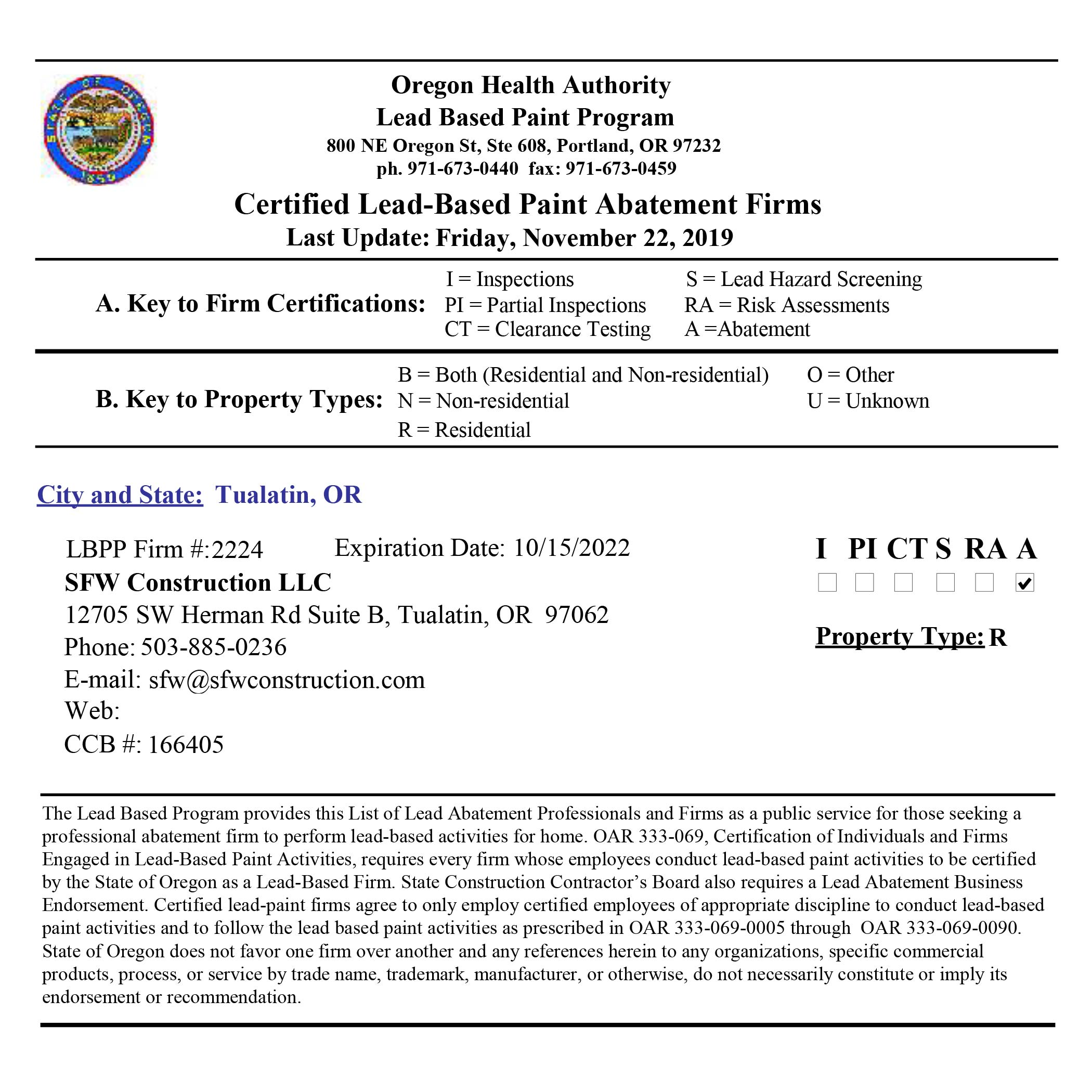 Certified Lead Abatement Contractor