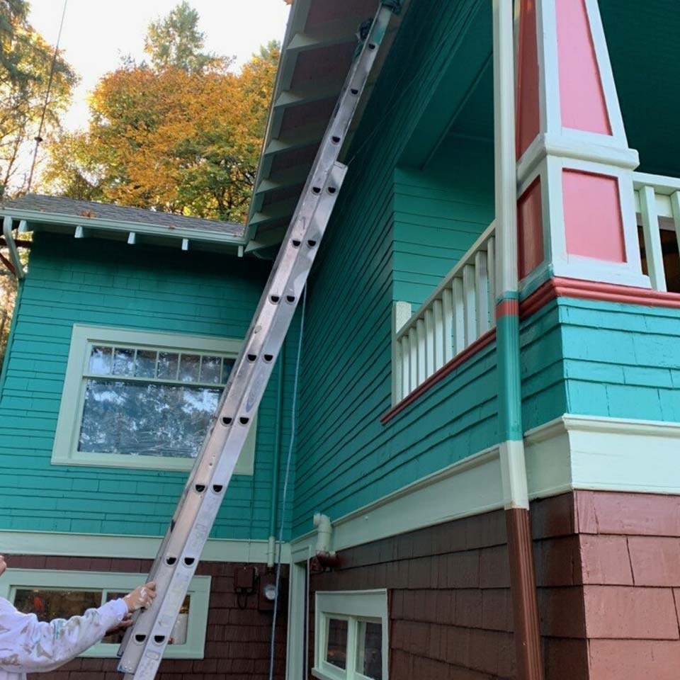 Bright Exterior Paint With Contrast Accent